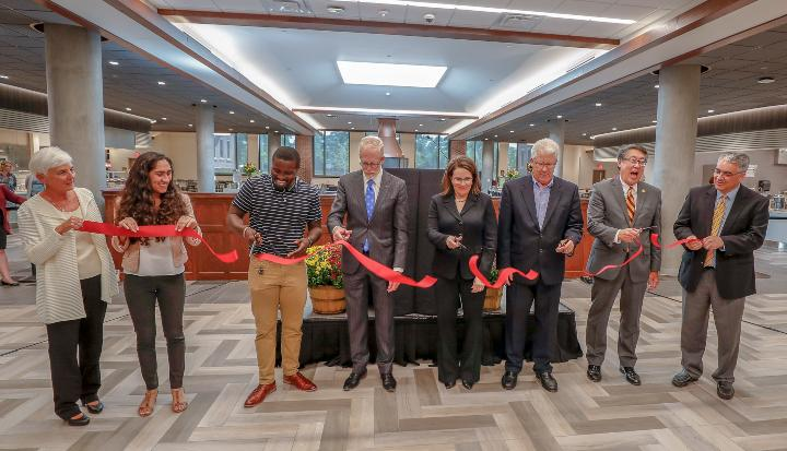 President Gabel and Regents Kenyanya, McMillan, Beeson, and Hsu help reopen the newly renovated Pioneer Hall.